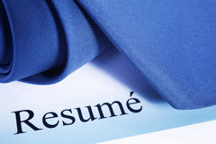 Resume Word. Resume with tie, ready for interview, blue tone stock image