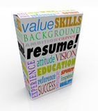 Resume Word Product Box Best Candidate Experience Background. A resume on a unique product or box to present you in an interview as the best candidate to be vector illustration