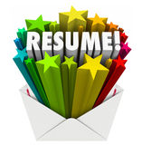 Resume Word Stars Open Envelope Promote Your Skills Knowledge Ex. Resume 3d word and stars bursting out an envelope to illustrate promoting your skills Stock Images