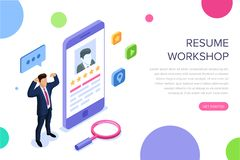 Resume workshop concept with characters. Can use for web banner, infographics, hero images. Flat isometric vector royalty free illustration