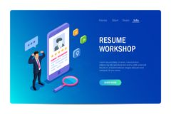 Resume workshop concept with characters. Design web site. Can use for web banner, infographics, hero images. Flat stock illustration