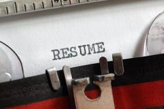 Resume written on old typewriter Stock Images
