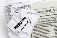 Resumes crumpled Royalty Free Stock Photo