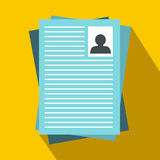 Resumes icon in flat style Royalty Free Stock Image