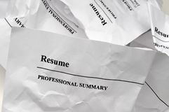 Resumes tossed in frustration royalty free stock photos
