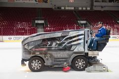 Resurfacer ice machine. Ice resurfacer at the ice of Ice arena Tractor. Chelyabinsk stock image
