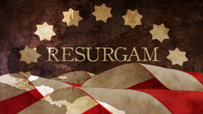 Resurgam. The Latin for I shall rise again. Usa Flag. And Chart Stock Image