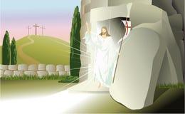 Resurrected Jesus Christ. Vector illustration of Jesus Christ in glory Stock Photos