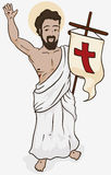 Resurrected Jesus Holding a Banner in Holy Sunday, Vector Illustration Royalty Free Stock Photography
