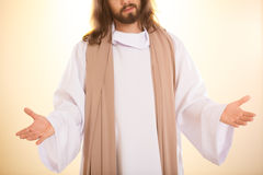 Resurrected Messiah with arms open. Personification of resurrected Messiah standing with arms open Stock Photography