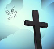 Resurrection. Easter resurrection with cross and dove Stock Photo