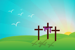 Resurrection. Hill of catholic resurrection with three and crosses Stock Images