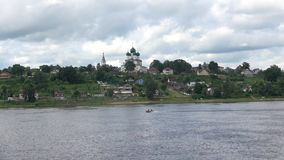 Resurrection Cathedral on the right bank of the Volga river, cloud day in july. Tutayev, Yaroslavl region stock video