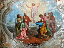 Resurrection of Christ. Old fresco royalty free stock photo