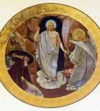 Resurrection of Christ. Fresco painting on the ceiling of the church royalty free stock photo