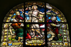 Resurrection of Christ. Stained Glass of the resurrection of Christ in the cathedral of Salta (Argentina). Stained glass was made in 1914 royalty free stock photos