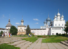 The Resurrection of Christ and Assumption Cathedral in Kremlin of Rostov Stock Photography