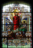Resurrection of Christ. Stained glass church window stock images