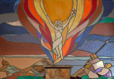 Resurrection of Christ. Stained glass window in Mother Teresa cathedral in Vau i Dejes, Albania Stock Photo