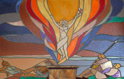 Resurrection of Christ. Stained glass window in Mother Teresa cathedral in Vau i Dejes, Albania Stock Photos