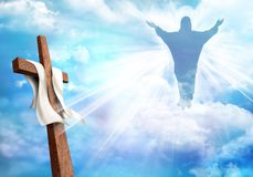 Resurrection. Christian cross with risen Jesus Christ and clouds sky background. Life after death vector illustration