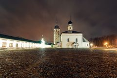 Resurrection Church on the market square in Suzdal at night after rain. Russia, Suzdal. The Golden Ring Royalty Free Stock Photo