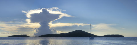 Resurrection in the clouds above Luis Pena Cay in Isla Culebra Royalty Free Stock Photography