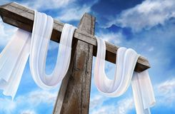 Resurrection cross. Empty cross with white fabric which indicates Christ's resurrection stock photography
