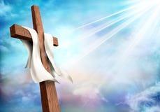 resurrection Cruz cristã com fundo do céu das nuvens Vida após a morte ilustração do vetor