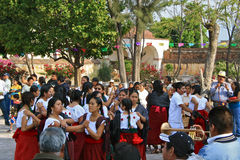 Resurrection Dance, Easter, Mexico. Young people in a mexican village celebrating Christ´s resurrection on Easter Sunday morning Stock Photo