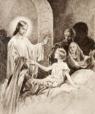 The Resurrection of the Daughter of Jairus. Old lithography Stock Photos