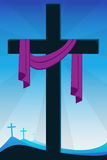 Resurrection for easter. Christian Cross, crucifixion and resurrection Royalty Free Stock Photography