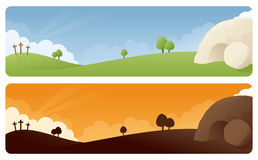 Resurrection Easter Banner. Resurrection scene banners in daylight and sunrise/sunset stock photos