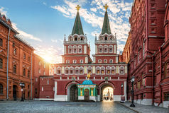 Resurrection gate. On Red Square in Moscow in the early morning royalty free stock photography