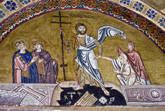 Resurrection of Jesus, 11th century mosaic. Resurrection of Jesus, 11th century mosaic, Monastery Hosiou Louka, Greece stock photos