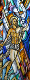 Resurrection of Jesus. Stained glass church window royalty free stock image