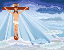 Resurrection of Jesus Christ. Crucifixion and resurrection of Jesus Christ on the cross. Over blue sky. Vector file saved as EPS AI8, all elements layered, no Royalty Free Stock Images