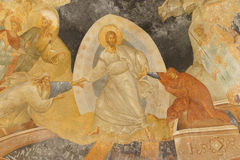 Resurrection, Jesus Christ. ISTANBUL, TURKEY - MAY 15, 2014 -Fresco - Resurrection, Jesus Christ pulling Adam and Eve from their coffins in hell,  Parekklesion Stock Photo