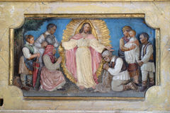 Resurrection of Jesus. Detail of the church altar royalty free stock image