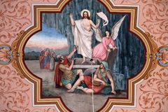 Resurrection of Jesus. Fresco in the church of Saint Matthew in Stitar, Croatia stock photo