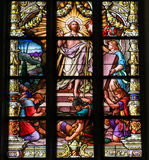 Resurrection of Jesus from the grave. Resurrection of Jesus Christ from the grave, stained glass window in Saint James' church of Stockholm stock image
