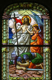 Resurrection of Jesus. Stained glass window Stock Photo