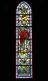 Resurrection of Jesus. Stained glass window stock photo