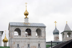 Resurrection Monastery in Uglich, Russia. Many church cupolas. Royalty Free Stock Photos