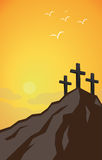 Resurrection. Mountain of catholic resurrection with three crosses Stock Image