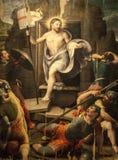 Resurrection, painting in the Sansepolcro Cathedral. Sansepolcro (Arezzo, Tuscany, Italy) - Resurrection of Christ, painting in the Cathedral made by Raffaellino Royalty Free Stock Photos