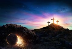 Resurrection - Tomb Empty With Crucifixion royalty free stock images