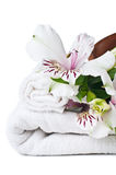 Resurser för brunnsort, den vita handduken och blomma Fotografering för Bildbyråer