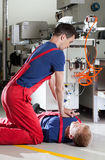 Resuscitation in a factory Royalty Free Stock Image