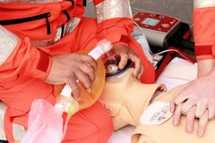 Resuscitation. The hands of health care professionals who practice resuscitation Royalty Free Stock Photos